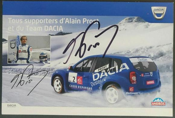 Alain Prost Signed Team Dacia Promo Postcard - Trophee Andros