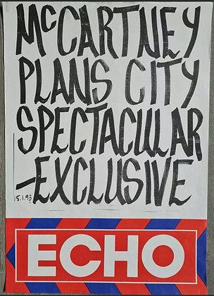 Liverpool Echo Headline/Billboard Poster - Jan 1993 - Paul McCartney, Beatles