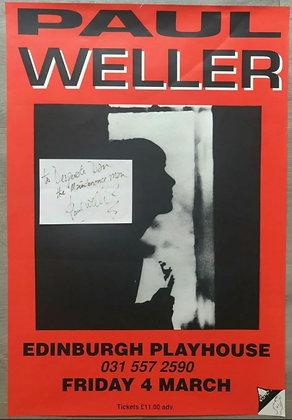 Paul Weller Signed Paper Slip + Poster from Edinburgh Playhouse, 1994