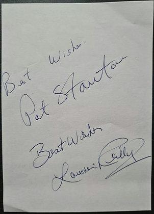 Pat Stanton & Lawrie Reilly Signed Paper Slip - Hibernian FC