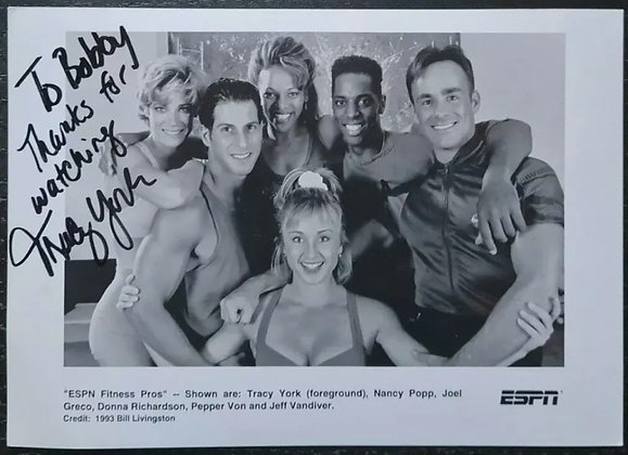 Tracy York Signed Promo Photo - ESPN Fitness Pros - 1993