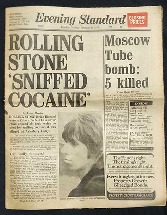 Rolling Stones 1977 Newspaper Front Cover