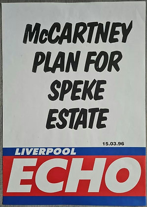 Liverpool Echo Headline/Billboard Poster - March 1996 - Paul McCartney, Beatles