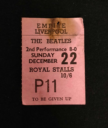 The Beatles Liverpool 1963 Ticket