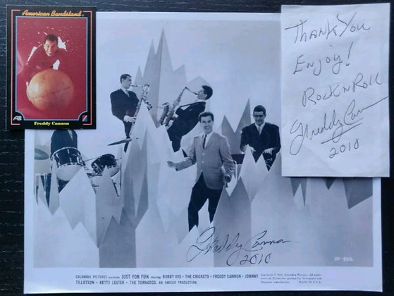 Freddy Cannon Signed Photo + Signed Slip & AB Card