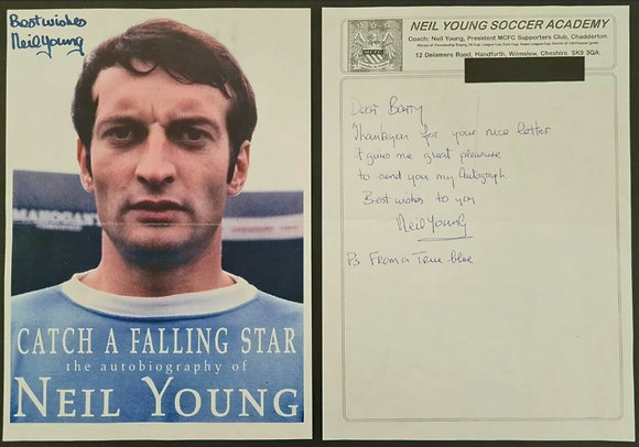 Neil Young (Manchester City) Autograph & Headed Letter - Man City FC Footballer