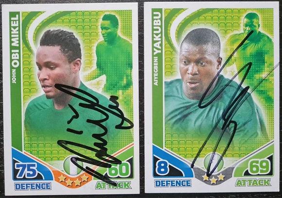 John Obi Mikel & Aiyegbeni Yakubu Signed Trading Cards (x2)