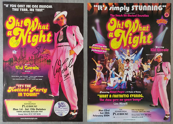 Oh! What A Night Signed Mini-Posters (x2) from Edinburgh, 2001 & 2004