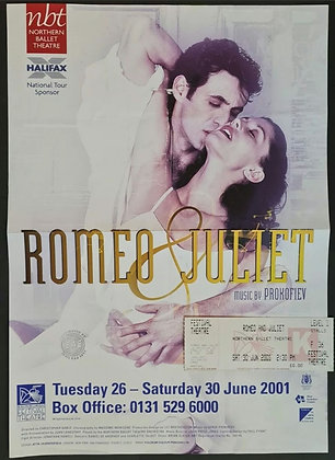Romeo & Juliet Poster & Ticket from Edinburgh, 2001 - Northern Theatre Ballet