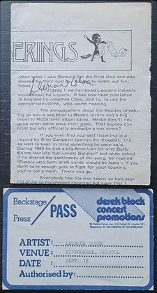 Leonard Cohen Signed ZigZag Magazine Page + Backstage Pass
