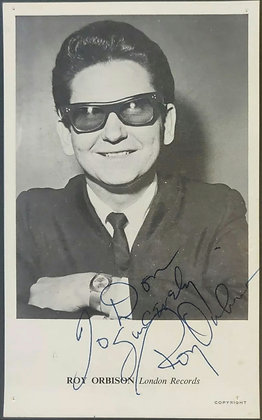 Roy Orbison Signed London Records Promo Postcard from Radio One Producer Archive