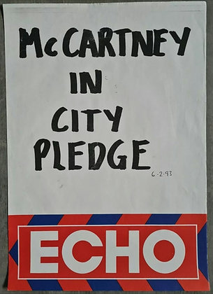 Liverpool Echo Headline/Billboard Poster - Feb 1993 - Paul McCartney, Beatles