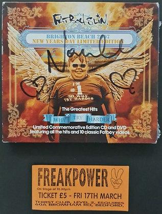 Norman Cook Signed Fatboy Slim CD/DVD + Freak Power Ticket