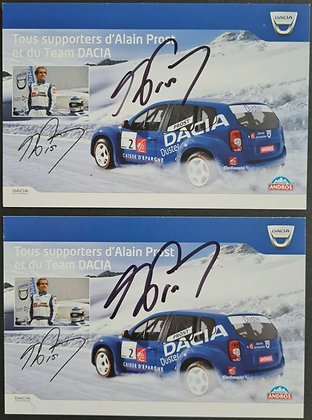 Alain Prost Signed Team Dacia Promo Postcards (x2) - Trophee Andros