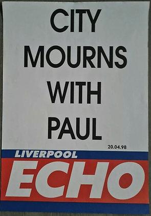 Liverpool Echo Headline/Billboard Poster - April 1998 - Paul McCartney, Beatles