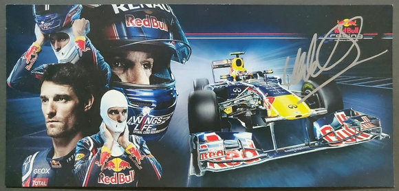 Mark Webber Signed Red Bull Racing F1 Team Drivers Promotional Postcard