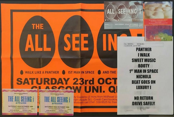The All Seeing I Setlist, Poster, Tickets & Promo Postcards from Glasgow 1999