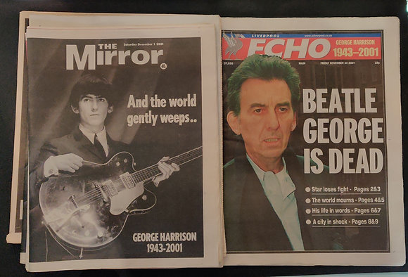 George Harrison Death Newspaper collection