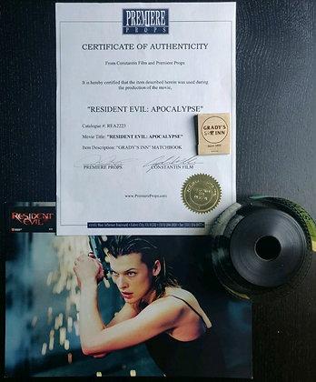 Resident Evil: Apocalypse Matchbook Prop w/ COA + Teaser Film Reel & Lobby Card