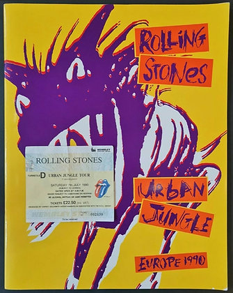 The Rolling Stones 'Urban Jungle' 1990 Tour Programme & Wembley Ticket