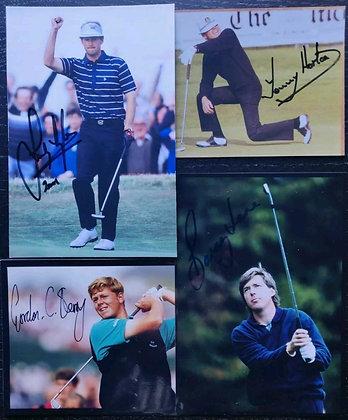 British Golfer Signed Photos (x4) - Sandy Lyle, Tommy Horton + 2