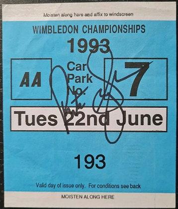 Pete Sampras Signed Wimbledon 1993 Car Park Ticket