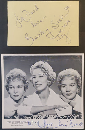 The Beverley Sisters Signed Autograph Page with COA + Signed Promo Card - Decca