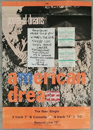 Power Of Dreams Setlist & Tickets (x2) from Edinburgh, 1992 + Promo Poster