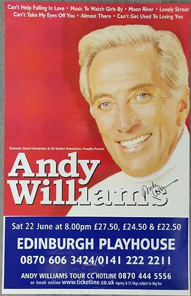 Andy Williams Signed Poster from Edinburgh Playhouse, 2002