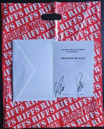 Francis Rossi & Rick Parfitt Signed Status Quo 'Riffs' Greeting Card + Tour Bag