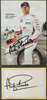 Andy Priaulx Signed BMW Touring Cars Team Drivers Promotional Card + Index Card