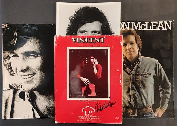 Don McLean Signed Sheet Music + Tour Programme & Photos (X2)