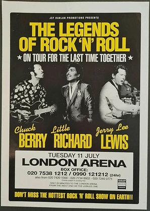 Chuck Berry, Little Richard, Jerry Lee Lewis Promo Handbill/Flyer - London, 2000