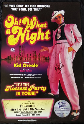 Oh! What A Night Signed Poster Edinburgh Playhouse 2001 - Kid Creole