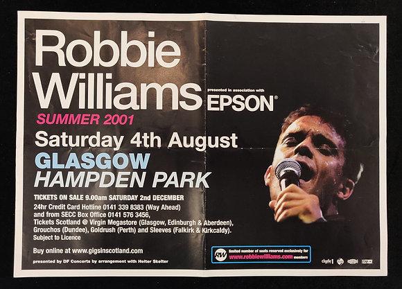 Robbie Williams Poster Glasgow 2001