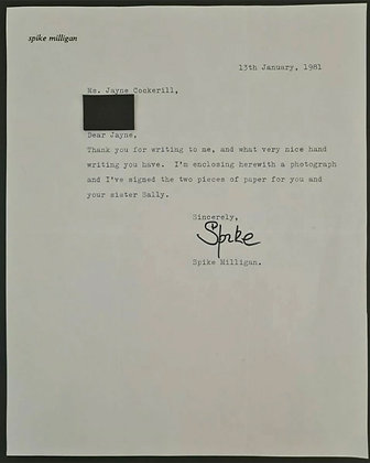 Spike Milligan Signed Letter on Headed Paper from 1981