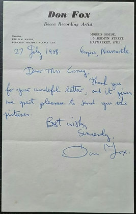 Don Fox Handwritten & Signed Letter on Headed Paper - 1950s Decca Records Artist