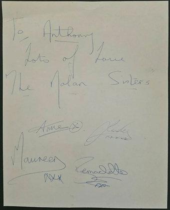 The Nolan Sisters Autographs (Maureen, Anne, Bernie & Linda) + Pat Phoenix