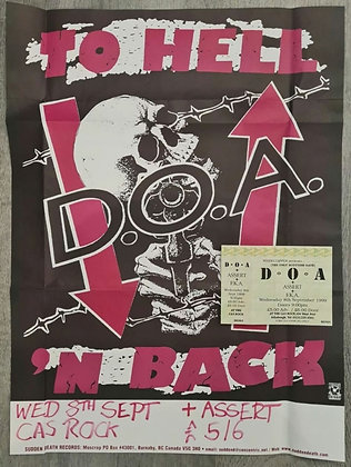 D.O.A. Promo Poster & Ticket from Edinburgh, 1999 - To Hell 'N Back