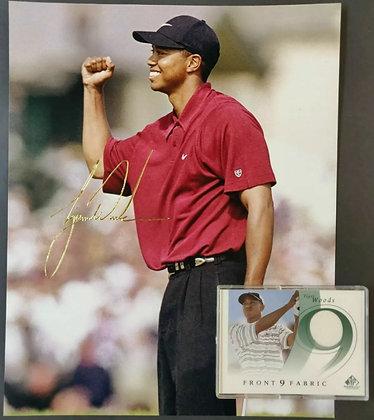 Tiger Woods Front 9 Fabrics Tournament-Worn Golf Shirt Trading Card, Photo & LOA