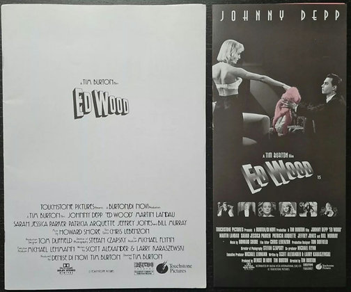 Ed Wood (1994) Production Info Book & Sypnosis Card - Tim Burton, Johnny Depp