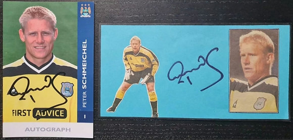 Peter Schmeichel Signed Promo Player Postcard & Autograph - Man City FC