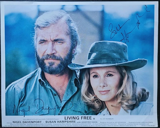 Nigel Davenport & Susan Hampshire Signed 'Living Free' (1972) Lobby Card