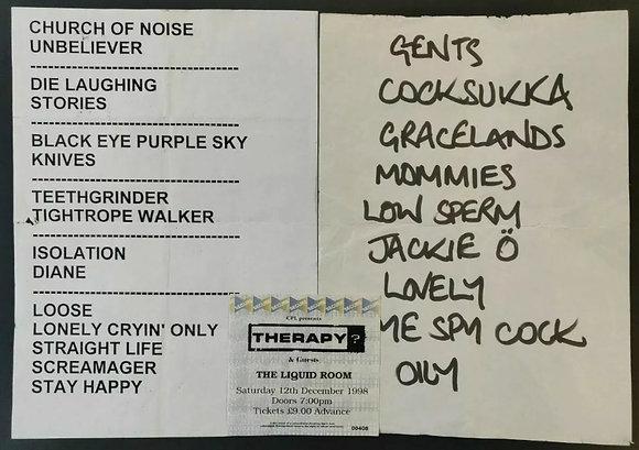 Therapy? Ticket Stub & Setlist from Edinburgh 1998 + Groop Dogdrill Setlist