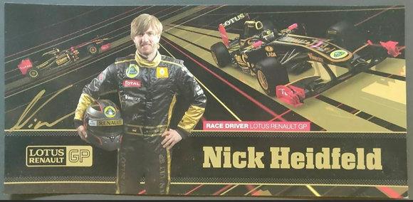 Nick Heidfeld Signed Lotus F1 Team Drivers Promotional Postcard - 2011 FIA