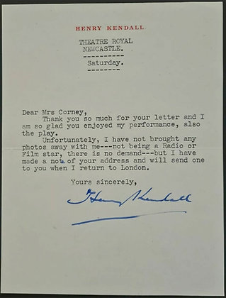 Henry Kendall Signed Letter on Headed Paper - Theatre Royal, Newcastle