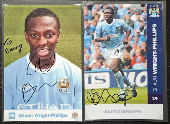 Shaun Wright-Phillips Signed & Mounted Promo Players Postcards (X2)- Man City FC