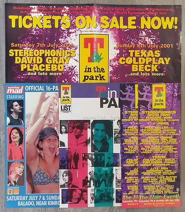 T In The Park 2001 Poster + Magazine Specials & Flyers