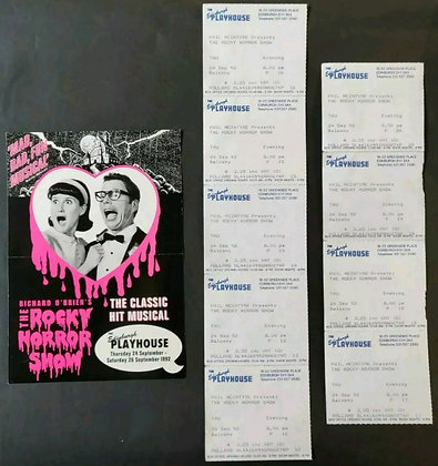 The Rocky Horror Picture Show Promo Flyer + Used Tickets from Edinburgh, 1992