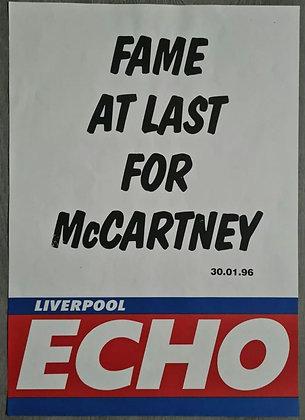 Liverpool Echo Headline/Billboard Poster - Jan 1996 - Paul McCartney, Beatles